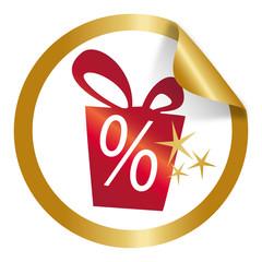 Button / Etikett Weihnachten mit Prozentzeichen