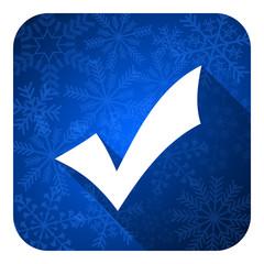 accept flat icon, christmas button, check sign