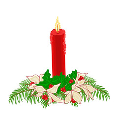 Christmas red candle holly and poinsettia  vector