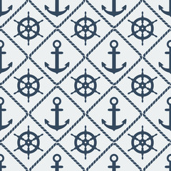 steering wheel and anchor seamless pattern