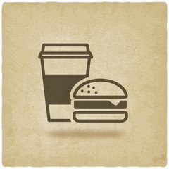 coffee and burger fast food old background