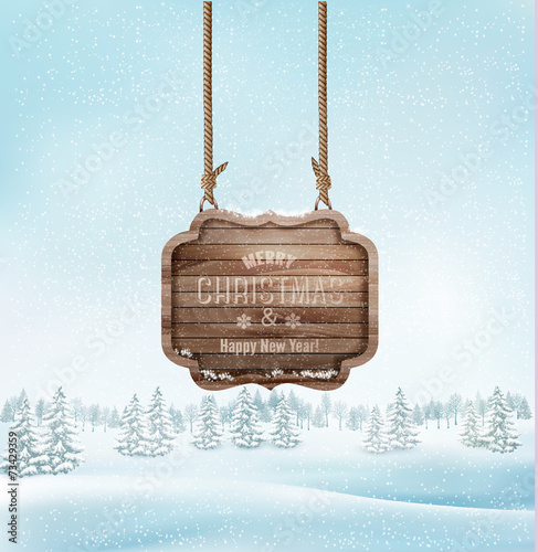 Spoed canvasdoek 2cm dik Lichtblauw Winter landscape with a wooden ornate Merry christmas sign. Vect
