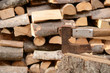 A pile of woods . Firewood with axe