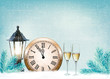 Holiday retro background with champagne glasses and clock . Happ