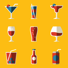 Flat icon set. Drink. Cocktail