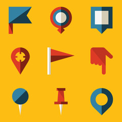 Flat icon set. Push pin map