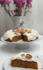 Homemade carrot cake. Diet backery