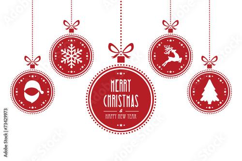 Boże Narodzenie Kula czerwony na białym tle