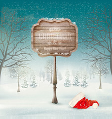 Winter christmas landscape with a wooden ornate sign and a santa