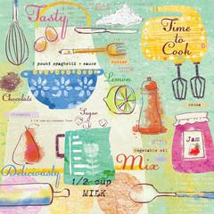 Stylish design elements:fork, spoon, bowl, mixer, lemon, knife