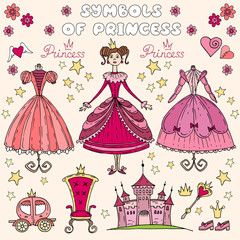 Vector illustration with set of princess symbols
