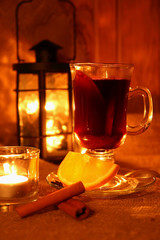 Hot mulled wine in the cup