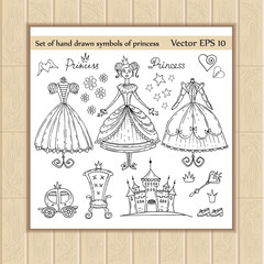 Vector set of hand drawn symbols of little princess