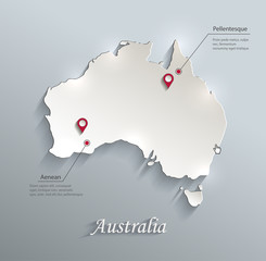 Australia map blue white card paper 3D vector infographic