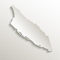 Aruba map card paper 3D natural vector