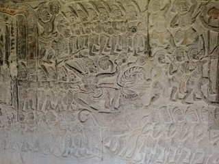 Bas-relief from Bayon temple in Cambodgia