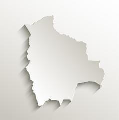 Bolivia map card paper 3D natural vector