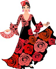 Flamenco dancer with roses