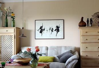 Dekoration, Einrichtung, Sofa, Kunst, Bild, Blume