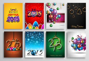Set of 2015 New Year and Happy Christmas background for flyers