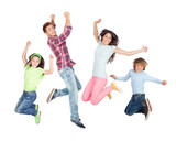 Young happy family jumping