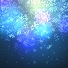 Night magic snowfall Christmas background.