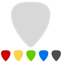 Color guitar picks isolated on white background.