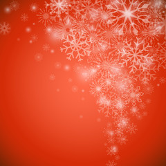 Christmas snowflake flow red background