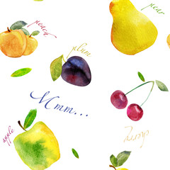 fruit watercolor background seamless