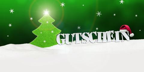 Christmas voucher Gutschein tree snow green