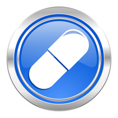 drugs icon, blue button, medical sign