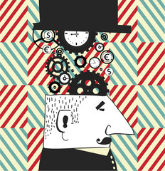 Vector background with graphic men and clocks.Clockmaker.