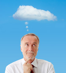 Senior man with thinking cloud, symbol