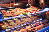 Collection of sandwiches in a shop window