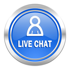 live chat icon, blue button