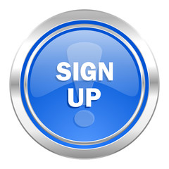 sign up icon, blue button