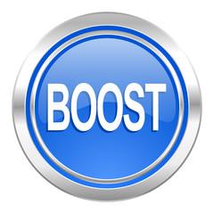 boost icon, blue button