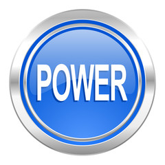power icon, blue button