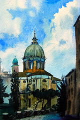 Watercolor painted picture of the Chiesa San Rocco, Rome, Italy.