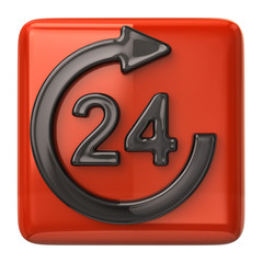 24 hours customer service orange icon