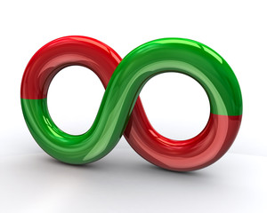 Illustration of green and red infinity symbol