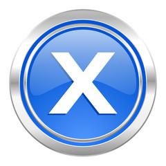 cancel icon, blue button