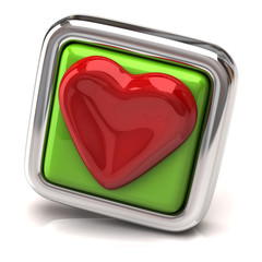 Heart on green button