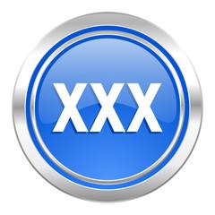 xxx icon, blue button, porn sign