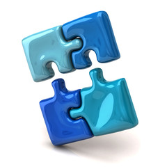 Blue jigsaw puzzle pieces