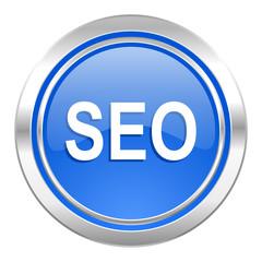 seo icon, blue button
