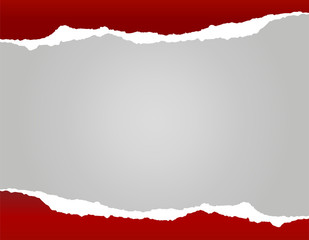 Bright red torn paper background with shadow on silver backgroun