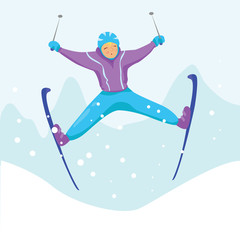 Ski racer on the snow. Girl jumps and having fun with her ski