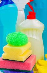 Detergent bottles and sponges