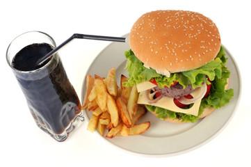 Burger, frites et cola
